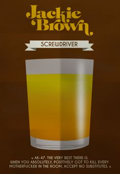 Jackie Brown (1997) ~ Minimal Movie Poster by Mathieu Laprie ~ Drinks in Movies Series #amusementphile