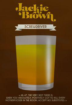 Jackie Brown (1997) ~ Minimal Movie Poster by Mathieu Laprie ~ Drinks in Movies Series #amusementphile