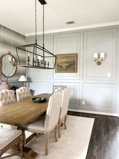 Double Raised Panel Feature Wall Dining Room Paint Colors, Dining Room Design, Best Gray Paint Color, Dining Room Wallpaper, Wall Molding, Raised Panel, Dining Table Chairs, Dining Rooms, Pennies