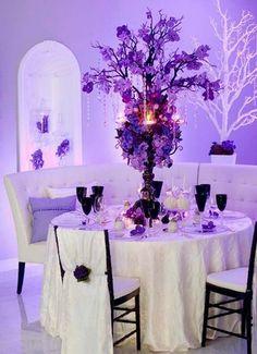 Wedding, Reception, White, Purple, Centerpiece, Black, Table, Setting - Project Wedding