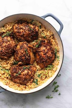 One pot Greek chicken and orzo packs a creamy, cheesy punch with a hint of lemon, butter, and Italian seasonings under perfectly seasoned, tender, marinated chicken thighs cooked all together in one pot for easy clean up!