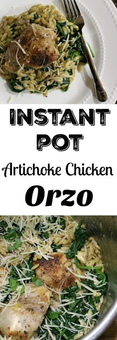 Instant Pot Artichoke Chicken Orzo Dinner - One Pot Recipe