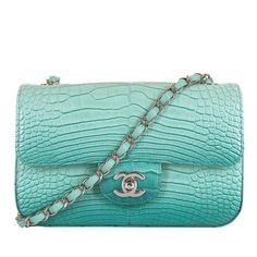 NEW MINI Chanel Turquoise Alligator Classic 'Sac Timeless' with Silver Hardware 1