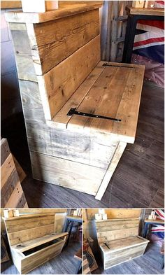 Brighten Recycling Ideas for Shipping Wood Pallets pallet wood bench with storage The post Brighten Recycling Ideas for Shipping Wood Pallets appeared first on Wood Diy. Outdoor Dining Furniture, Pallet Furniture, Furniture Legs, Furniture Makeover, Furniture Design, Diy Pallet Projects, Wood Projects, Outdoor Projects, Pallet Ideas