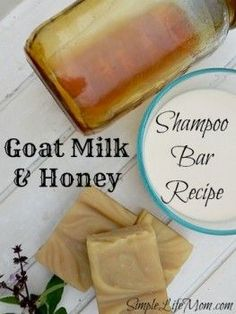 Goat Milk and Honey Shampoo Soap Recipe from Simple Life Mom. Great Recipe, learn how to no 'poo, and the benefits of honey and goat's milk in shampoo bars.