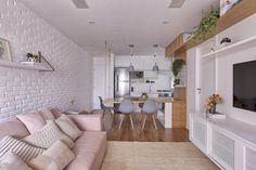 Scandinavian Dining Room Design: Ideas & Inspiration - Di Home Design Condo Interior Design, Apartment Interior, Apartment Design, Apartment Living, Condo Design, Home Living Room, Living Room Designs, Living Room Decor, Small Condo Living