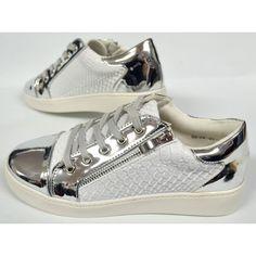 Dames Witte Zipper Sneaker met Rits