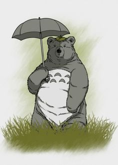 bear totoro umbrella cute adorable nature love Animals