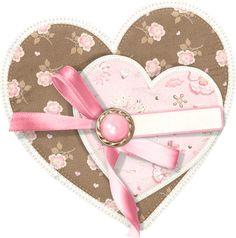 Coleccion...Grin'n Bear It....doble corazon floral estampado png