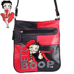 Amazon.com: Betty Boop Fashion Raised Gemstones Rhinestone Studded Color Block Patchwork Bodycross Messanger Bag Betty Boop Character Embroidered Handbag Purse in Red and Black: Clothing $34.99