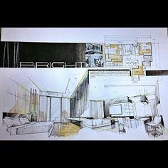 My first panorama (quick?)sketch😬 for👉 @ipattk #interiordesign#skd#panorama#perspective#bright#condominium#watercolour#canson#blackandwhite