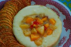 Baked Brie Cheese with Jezebel Peaches is the perfect appetizer - easy, quick and delicious!