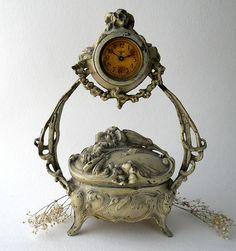 Antique German Art Nouveau Clock Jewelry Box.  via Etsy.