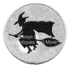 Witch - Halloween - Full Moon - Embroidered Iron On Applique Patch - Left #Unbranded