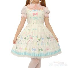 Marshmallow Bunny dress Brand: Angelic pretty ¥ 25,990 tax No notation size Length: 87cm Cotton: 100% Shearing: Yes Rank B: dirt-free used clothes Used Lolita clothing shop Wunderwelt http://www.wunderwelt.jp/products/detail1669.html