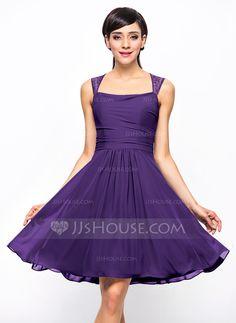 A-Line/Princess Square Neckline Knee-Length Ruffle Zipper Up Regular Straps Sleeveless No Pearl Pink Spring Summer Fall General Plus Chiffon Bridesmaid Dress