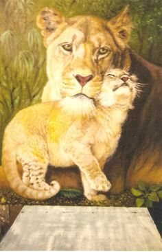 Wonderful painting of a lioness and her cub by one of our supporters Ann Curtis.