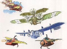 Film: Castle In The Sky ===== Prop Design: Aircrafts ===== Production Company: Studio Ghibli ===== Director: Hayao Miyazaki ===== Producer: Isao Takahata ===== Written by: Hayao Miyazaki ===== Distributed by: Toei Company