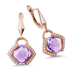 Fantasy-cut Amethyst and Diamond Earrings in 14k rose Gold. Cushion 9X9 mm centers. ☆US$1,499.00☆