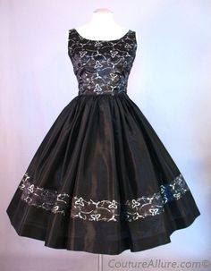 1950s Silver Embroidery Party Dress