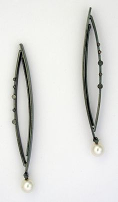 """""""Twig Earrings with Pearls"""" Silver & Pearl Earrings Created by Sydney Lynch"""