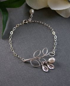 """Personalized Silver Jewelry - """"Dainty Branch Bracelet"""" - Custom 2 Initials, Freshwater Pearls, STERLING SILVER Chain"""