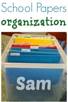 Easy way to organize all the papers from school!  You can also keep your favorite keepsakes year after year!