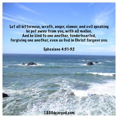 Let all bitterness, wrath, anger, clamor, and evil speaking  be put away from you, with all malice.   And be kind to one another, tenderhearted,  forgiving one another, even as God in Christ forgave you.  Ephesians 4:31-32