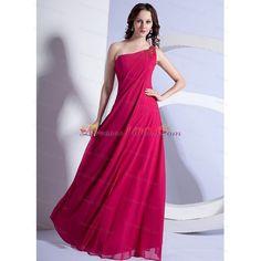 Empire Beading One Shoulder Prom Dress Hot Pink Floor-length Chiffon -... via Polyvore