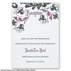 Dynamic Damask Letterpress Reception Card #Letterpress #WeddingInvitations #DavidsBridal http://www.invitationsbydavidsbridal.com/Wedding-Invitations/Reception-Cards/2947-DBR33398-Dynamic-Damask-Letterpress--Reception-Card.pro?&sSource=Pinterest&kw=Letterpress_DBR33398