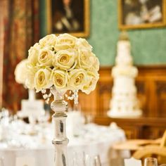Silk Fake Flowers Cream/ivory Rose Ball Wedding Centrepiece
