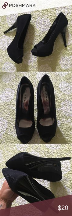 """Chinese Laundry Hard to Get black peep toe pumps Chinese Laundry Hard to Get black peep toe pumps with glitter look to them. Great condition size 8. 5"""" heels with a 1"""" platform making them 4"""" heel. 🍥Bundle deals available (I carry various sizes and brands in my closet): 2 items 10% off, 3 items 15% off, 4 items or more 20% off.  🍥No trades, modeling, or lowball offers please. 🍥All reasonable offers accepted only through """"offer"""" button. Please submit offer willing to pay as I prefer to not…"""