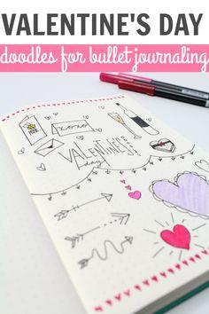 VALENTINE'S DAY doodles for bullet journals!