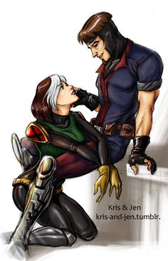 Gambit & Rogue, X-Men Evolution style, by Kris & Jen.
