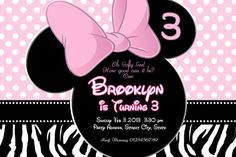 ULTIMATE Collection  MINNIE MOUSE Invitation by KidsPartyClubhouse, $7.00