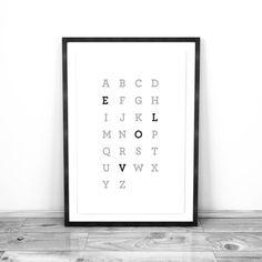 Minimalist Alphabet Love : Custom Digital by JacqueDesignStudio #WallArt #Minimalist #Scandinavian #Love
