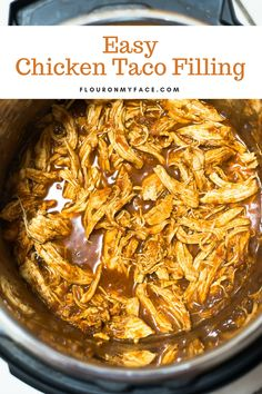 3 Ingredient Chicken Taco filling in the Instant Pot #instantpot #easyrecipes #chickenrecipes #flouronmyface