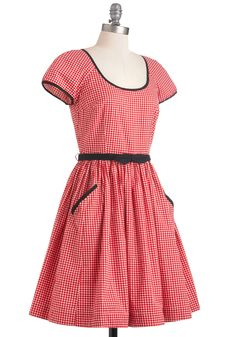 """Emily and Fin Ready to Meet Dress in Dots: """"This cap-sleeved, black-belted, 100% cotton number has front pockets for an easygoing look that still speaks volumes about your attention to style. The bright pattern reflects your upbeat mood, and the girly, A-line silhouette and gentle pleating keep you classically beautiful."""" $104.99"""