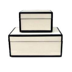 Small - $80 White and Black Lacquer Box | GRAMERCY & CO.