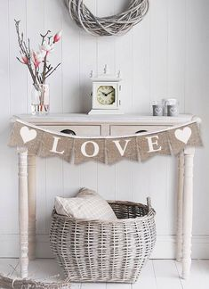 Burlap banner, burlap bunting LOVE heart banner, Love bunting, wedding banner, bridal banner, Photography prop - garland, wedding, garland