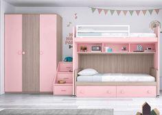 Habitación Infantil: Habitación infantil con literas y armario | Habitación infantil con litera, escalera de 3 peldaños y armario de 3 puertas. Cama inferior con u