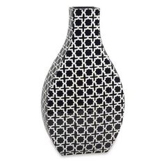 "20.5"" Lacey Dark Navy Blue and Ivory Geometric Pattern Ceramic Flower Vase"