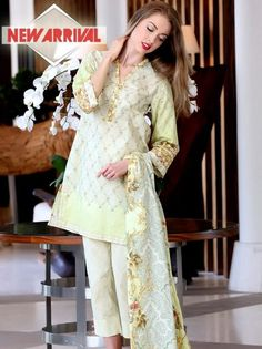 185949650b91 Pareesa by Chen one Cotton  amp   LawnCollection Unstitched 3 Piece Suit in  Lime Yellow