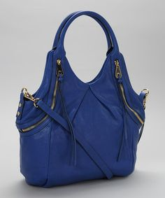 Take a look at this Royal Blue Tassel Leather Shoulder Bag by Joelle Hawkens on #zulily today!