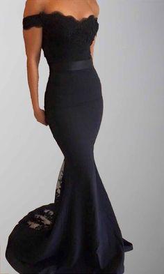 Black Applique Off Shoulder Long Bridesmaid Dresses KSP444