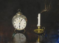 by Atanas Matsoureff, Watercolor,''Time'' 39 x Alex Colville, Watercolor Landscape Paintings, Watercolor Artists, Still Life 2, Be Still, Observational Drawing, Hyperrealism, Bulgaria, Rose