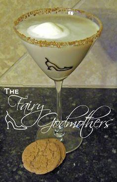 Fairy Godmother Gingerbread Martini  (1 ounce vanilla vodka    1 ounce Irish Cream liqueur  1/2 ounce Kahlúa liqueur  1/2 ounce gingerbread syrup (We found ours at Starbucks), plus more for rimming the glass  1/2 scoop vanilla ice cream — semi-melted)