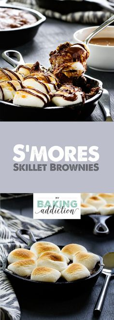 S'mores Skillet Brownies have a graham cracker crust topped with a layer of…