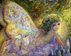 Fairy Tales by Josephine Wall  This Fairy of the forest glances over her shoulder to see her wings filled with fairy folk relating stories of events old and new.  Fairy weddings, fairy parties, and fairy adventures abound, Tales of magic and enchantment unfold watched by unseen eyes hiding in a leafy wonderland.
