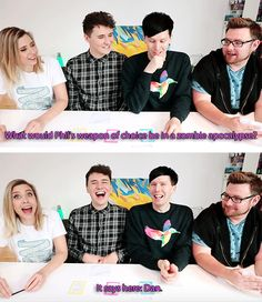 GIF SET: Dan and Phil play TRUTH BOMBS! (with Tom and Hazel)